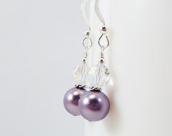 Mauve Pearl and Crystal Earrings PROVINCE Wedding Bridal Bridesmaid Swarovski Sterling Silver