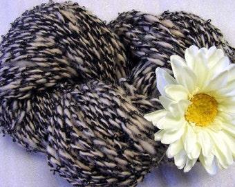 Y252 Hand Processed and Spun Huacaya Alpaca and Black Boucle Yarn 6.8 oz 216yds