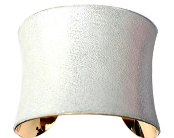 Metallic White Leather Gold Lined Cuff Bracelet - by UNEARTHED