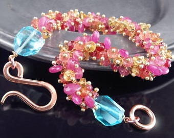 CUSTOM Made to Order - Pink Sapphire Bracelet with Swiss Blue Topaz, Pink Tourmaline, Yellow and Padaparascha Sapphires