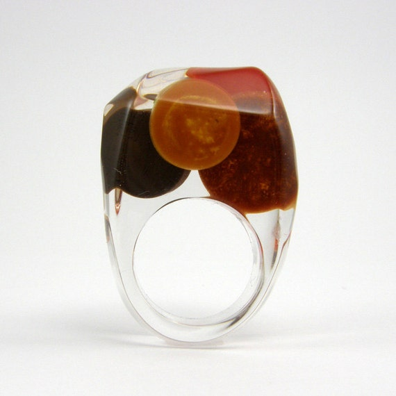 Clear resin ring, Chocolate and Gold Ring