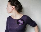 Purple Rose -- Felt Flower Brooch -- Hand felted wool -- size Medium