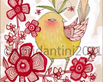 Bird Art print - Nursery Decor -Childrens Wall Art - whimsical art print - watercolor painting - 8 x 8 archival limited edition print