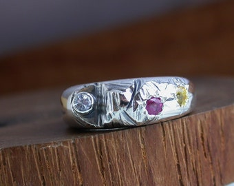 Funky Sterling Silver Ring - White Sapphire, Ruby, Yellow Sapphire
