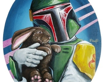 Digital Print of Boba Fett with Cuddly Bunny 12 x15.5 made from Original Acrylic on Canvas painting