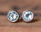 Aquamarine stud earrings, March birthstone earrings, bezel stud earrings sterling silver recycled silver gemstone stud wrought custom