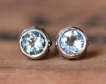 Aquamarine stud earrings, March birthstone earrings, bezel stud earrings sterling silver recycled silver gemstone stud wrought custom