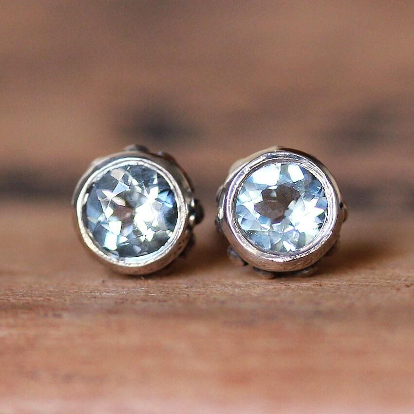 Aquamarine Stud Earrings March Birthstone Earrings Bezel