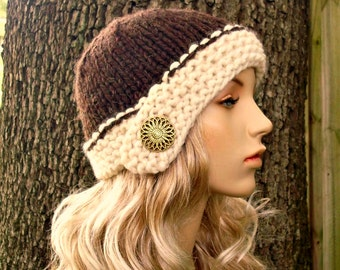 Knit Hat Womens Hat - Cloche Hat Wood Brown and Cream Knit Hat - Brown Hat Cream Hat Brown Cloche Cream Cloche Womens Accessories Winter Hat