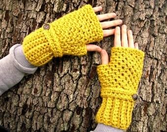Crocheted Fingerless Gloves Mittens - Yellow Fingerless Gloves Mustard Yellow Gloves Yellow Mittens Mustard Gloves Womens Accessories