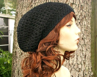 Black Womens Hat Slouchy Beanie - Weekender Slouchy Hat Black Metallic Onyx Crochet Hat - Black Hat Womens Accessories Winter Hat