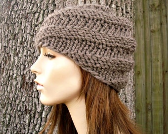 Knit Hat Womens Hat - Swirl Beanie in Taupe Brown Knit Hat - Taupe Hat Brown Hat Womens Accessories Winter Hat