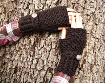 Crocheted Fingerless Gloves Mittens - Fingerless Gloves in Espresso Brown Gloves - Brown Mittens Womens Accessories