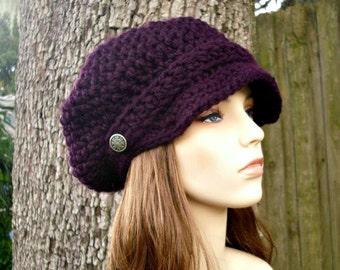 Eggplant Purple Newsboy Hat Crochet Hat Womens Hat Purple Hat Purple Beanie - Crochet Newsboy Hat - Womens Accessories Fall Fashion