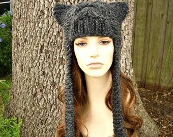 Grey Womens Hat - Cat Dragon Grey Ear Flap Hat Charcoal Grey Knit Hat - Grey Hat Womens Accessories Fall Fashion Winter Hat