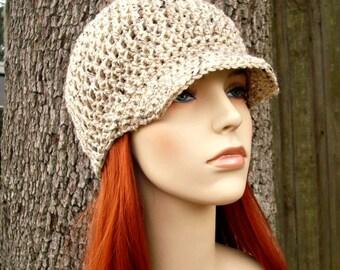 Crochet Hat Womens Hat Oatmeal Newsboy Hat - Skater Boy Cap Oatmeal Crochet Hat - Oatmeal Hat Oatmeal Beanie Womens Accessories