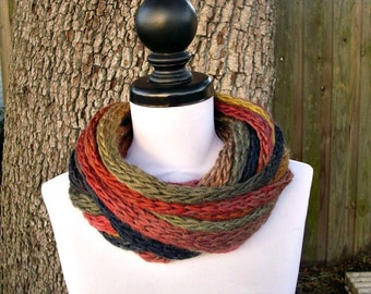 Chunky Scarf Circle Scarf Infinity Scarf Knit Cowl - Infinity Cowl Scarf Kilimanjaro Red Cowl Black Cowl Womens Accessories - READY TO SHIP