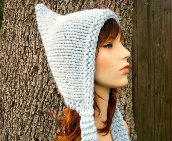 Knit Hat Womens Hat Ear Flap Hat - Pixie Hat in Glacier Blue Knit Hat - Womens Accessories Winter Hat