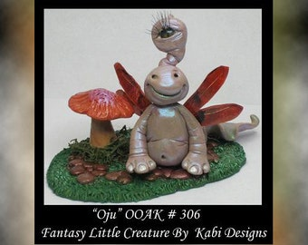 Art Doll Polymer Clay Fantasy Miniature Ado OOAK DollHouse Snail Sculpture