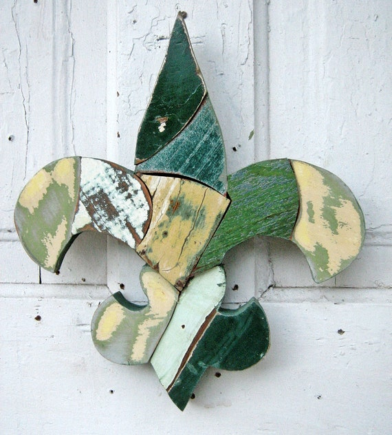 Fleur de Lis Green Gold Reclaimed Wood Mosaic Art New Orleans