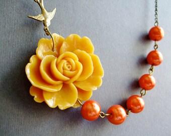 Mustard Flower Necklace,Floral Necklace,Mustard Necklace,Burnt Orange Necklace,Pearl Necklace,Bridesmaid Necklace,Bib Necklace,Boho Necklace