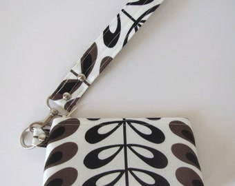 Tea Leaf Design Wristlet - Zipper Pouch - Clutch with Flat Bottom