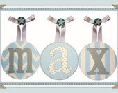 Boys Baby Nursery Blue And Grey Hanging Wall Letters