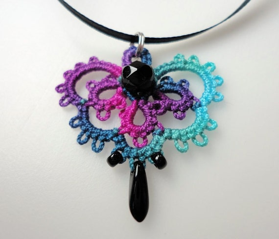 "Tatted pendant ""Lacy Treasure"" in hand dyed thread"
