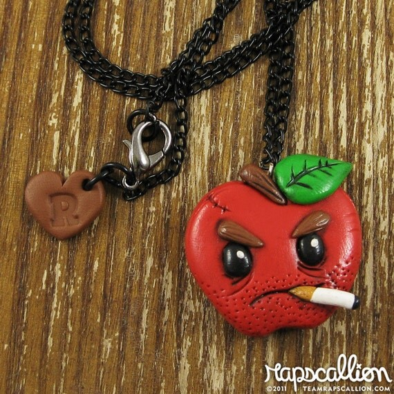 Bad Apple Polymer Clay Necklace