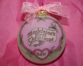 BABY GIRL'S FIRST Christmas Personalized Ornament, Timeless and Original,  Handpainted  and Personalized Keepsake Ornament