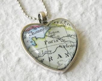 Paris Map Necklace - Paris Map Jewelery