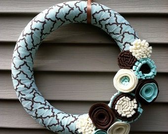 Winter Wreath - Modern Wreath Wrapped in Light Blue & Brown Patterned fabric Decorated w/ Felt Flowers.   Blue Wreath - Felt Flower Wreath