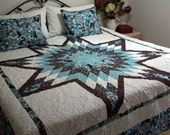 """Queen Star Bed Quilt in shades of blue, aqua, chocolate brown and white 95"""" x 95"""""""
