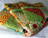 FROLIC bed Quilt in tangerine, lime, aqua, melon