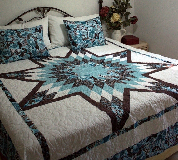 "Queen Star Bed Quilt in shades of blue, aqua, chocolate brown and white 95"" x 95"""