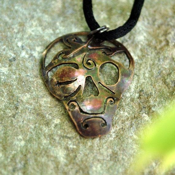 Day of the Dead Calavera  Pendant, copper, winking