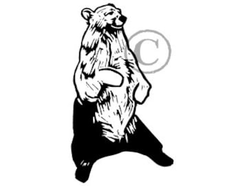 California Black Bear Seated rubber stamp