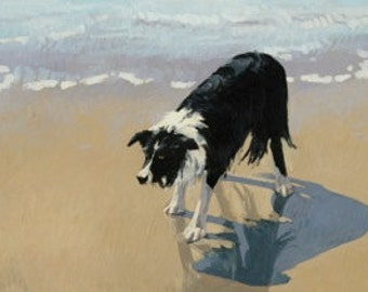 "Border Collie Crouch - 11x14"" reproduction of original oil by Nicole Strasburg"