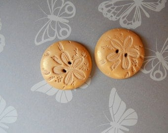 Sand Dollar Buttons, Polymer Clay, Round, Set of Two