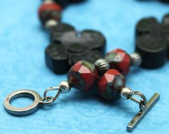SALE 50% OFF- Carved Flower Blackstone and Czech Pressed Glass Bracelet