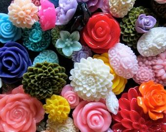 100pc. flower cabochon mix grab bag of cute Kawaii roses, mums etc... (DESTASH SALE)