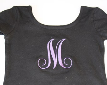 Custom Gymnastics Ballet Monogram Girls Leotard Long or Short Sleeve Black or Pink U choose stitch color too