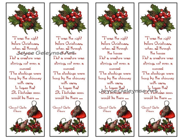 Printable Christmas Bookmarks Night Before Christmas Poem