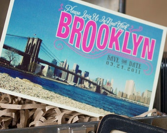 Vintage Postcard Save the Date (Brooklyn, New York) - Design Fee