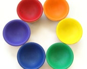 Wooden Rainbow Bowls - Matching / Sorting / Stacking - Ecofriendly Soy Paint & Beeswax