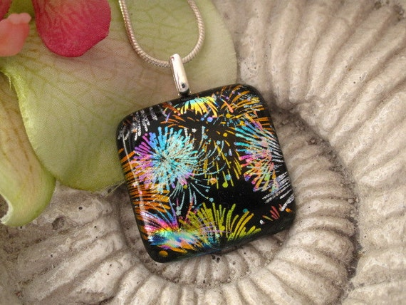 Fireworks Necklace - Dichroic Fused Glass Jewelry - Fused Dichroic Glass Pendant  - Dichroic Pendant Dichroic Necklace 080112p108