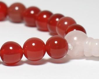 Carnelian Wrist Mala Tibetan Buddhist Juzu Beads, 8mm, 2nd Chakra, Prayer Beads, Yoga Bracelet, Sacral Chakra, 21 Beads, 27 Beads