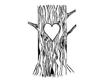 Tree Trunk with Lovers Heart rubber stamp
