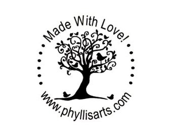 made with love whimsical tree Custom Rubber Stamp