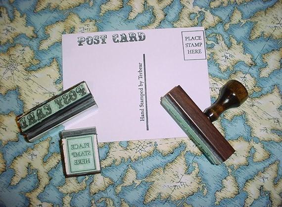 Custom Postcard Rubber Stamp set 3 piece set for DIY postcards post card
